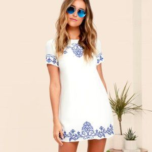 """Lulu's """"Tale to Tell"""" Embroidered Shift Dress"""